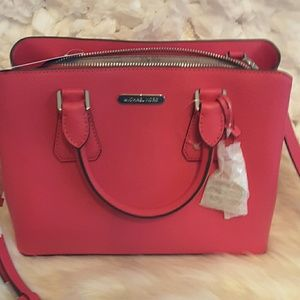 Michael kors Camille Leather MD Satchel Ultra Pink